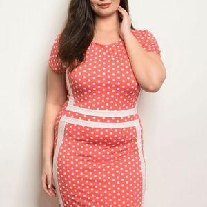 Dresses & Skirts - Coral Polka Dot Dress